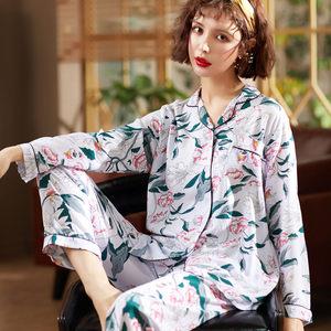 夏季棉绸睡衣女长袖薄款套装宽松大码开衫<span class=H>月子服</span>人造棉两件套妈妈