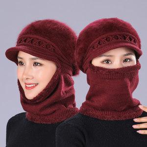 中老年人帽子女士秋冬天连体<span class=H>毛线帽</span>老人奶奶帽冬季加绒保暖妈妈帽