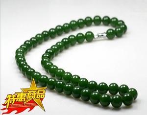 新疆和田碧玉圆珠项链昆仑玉项坠圆珠玉链子菠菜绿男女款10mm