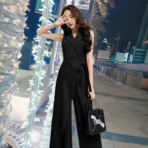 连衣裤时尚套装<span class=H>女装</span>2018夏季时装新款韩版黑色高腰连体阔腿裤显瘦