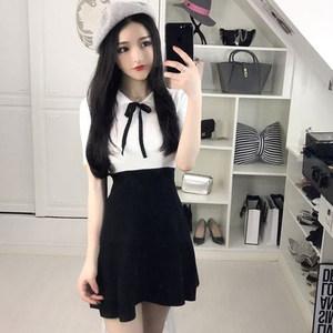 夜场女装2018新款性感气质翻领绑带拼色修身显瘦撞色短袖<span class=H>连衣裙</span>潮