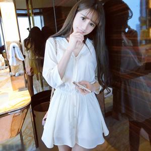 娇小女装矮小个子新款连衣裙小清新雪纺气质性感显瘦衬衫A字短裙