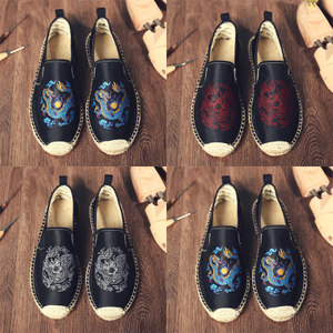 懒人鞋亚麻<span class=H>男鞋</span>夏季男士休闲鞋中国风麻鞋帆布鞋渔夫鞋老北京布鞋