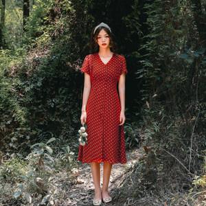 <span class=H>连衣裙</span>女夏2018新款中长款气质雪纺小心机藏肉波点复古红裙子高腰