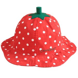 女宝宝波点草莓纯棉盆<span class=H>帽子</span> 婴儿儿童渔夫帽遮太阳帽春夏秋薄款