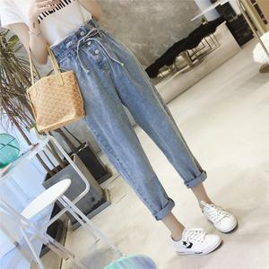 牛仔裤女春夏2019新款版显瘦八分裤大码宽松<span class=H>阔腿裤</span>薄款女裤