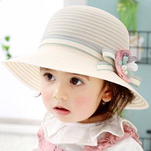 儿童遮阳帽子春夏公主防晒沙滩帽2女宝宝太阳帽5女童盆帽渔夫帽夏