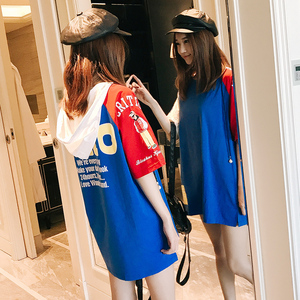 夏季新款ins帽衫 中长款bf风时尚<span class=H>女装</span><span class=H>卫衣</span>薄款拼接纯棉短袖打底衫