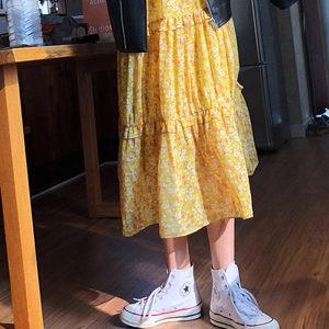 2019春夏女装新款黄色小碎花裙雪纺连衣裙中长v领秋长袖<span class=H>裙子</span>宽松