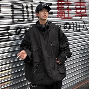 Leman金俊 2018秋季新款<span class=H>夹克</span>外套男韩版学生百搭黑色机车潮牌上衣