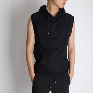夏季无袖T恤韩版背心砍袖<span class=H>卫衣</span>男士连帽衫男兜帽健身短袖修身 运动