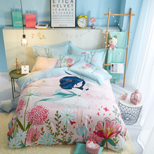 Pure Cotton Girl Four-piece Full Cotton Quilt Cover Bed Sheet Cartoon Bed for Children 1.5m 1.8m Bed Set