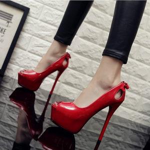 14CM超高跟防水台单鞋子夜店镂空蝴蝶结性感细跟<span class=H>鱼嘴</span>鞋<span class=H>红色</span><span class=H>婚鞋</span>女