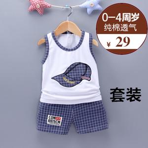 童装2周岁男童夏装3儿童夏季无袖4宝宝运动吊带1-5岁小孩<span class=H>背心</span>套装