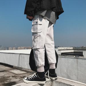 九分情侣工装裤 男女生ins嘻哈hiphop街舞宽松大口袋哈伦裤直筒裤
