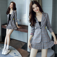 Chequered mini-suit women's jacket new style of spring and autumn 2019 small man two-piece suit skirt chic casual suit