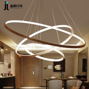 创意led客厅吊灯现代简约个性艺术金色圆圈圆形环形卧室餐厅灯具