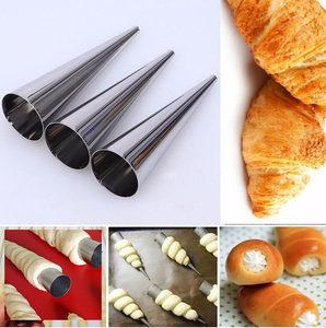 大号锥形不锈钢丹麦管 牛角包模具螺旋面包羊角酥螺管10只装包邮