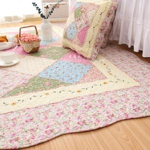 新款居家布艺韩式唯美田园全棉绗缝创意客厅卧室<span class=H>地垫</span>爬行垫沙发垫