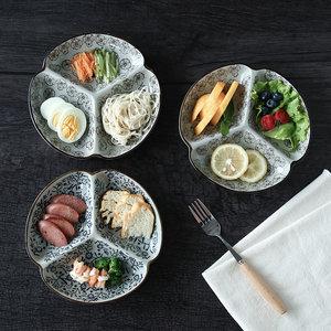 <span class=H>陶瓷</span>盘子分格盘早餐盘家用餐具创意日式3格菜盘子干果盘<span class=H>水果盘</span>子