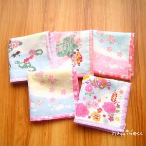 出口日本进口面料纯棉纱布+毛圈小方巾樱花和风<span class=H>手帕</span>金鱼口水巾软