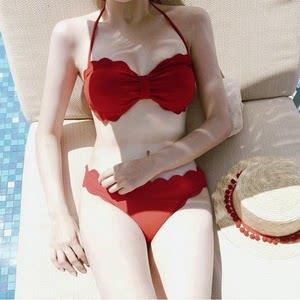花瓣。2017韩国可爱花边<span class=H>比基尼</span>小胸钢托聚拢性感分体泳衣女bikini