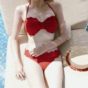 <span class=H>花瓣</span>。2017韩国可爱花边<span class=H>比基尼</span>小胸钢托聚拢性感分体泳衣女bikini