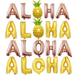 16寸玫瑰金ALOHA铝膜字母气球夏威夷<span class=H>菠萝</span>夏日主题派对布置装饰品