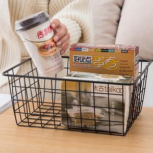 日式铁艺<span class=H>收纳篮</span>厨房零食收纳筐 桌面玩具篮子衣柜衣物整理收纳框
