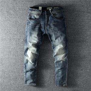 型男怀旧复古水洗浅蓝色修身直筒男士牛仔裤配靴裤潮