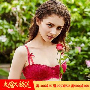 维多利亚性感全蕾丝蝴蝶结内衣红色本命年少女的秘密半杯文胸套装