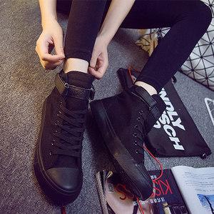 全黑色高帮<span class=H>帆布鞋</span>子女春夏百搭内增高布鞋韩版潮平底学生休闲板鞋