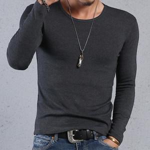 男士新品纯棉长袖修身<span class=H>t恤</span>圆领紧身弹力打底衫紧身体恤纯色加大码