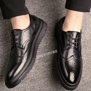 雕花男鞋子布洛克<span class=H>皮鞋</span>韩版圆头英伦青年厚底巴洛克商务透气休闲鞋