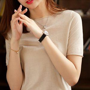 春夏季新品圆领短袖<span class=H>t恤</span>女卷边针织半袖冰丝薄款一字领套头打底衫