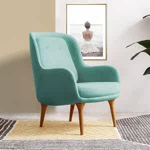 黄色实木单人沙发简约现代客厅卧室玻璃钢小型网红北欧布艺休闲椅