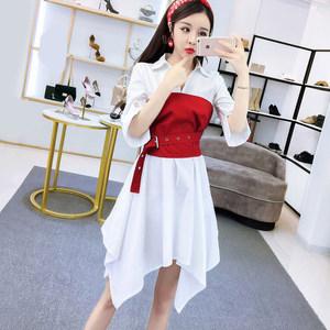 2019夏季新款时尚气质淑女不规则裙子修身显瘦中长款衬衫<span class=H>连衣裙</span>女