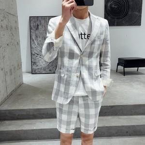 2019春夏薄款复古格子棉麻短裤西服两件套长袖西装休闲套装男修身