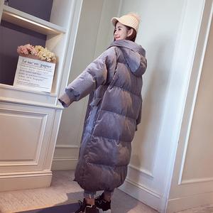 棉服中长款女冬过膝棉袄2018新款韩版宽松bf加厚金丝绒面包服外套