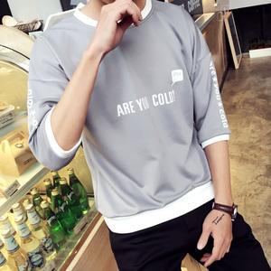 9.9元包邮男装蓝色衣服学生韩版宽松T恤短袖9块便宜货10元七分袖