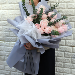 广州鲜花速递同城配送女朋友生日粉红香槟玫瑰<span class=H>花束</span>送花上门圣诞节