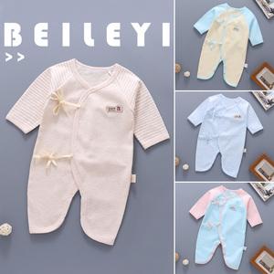 新生嬰兒衣服秋冬0-3純棉保暖連體衣寶寶和尚服蝴蝶哈衣嬰兒冬裝