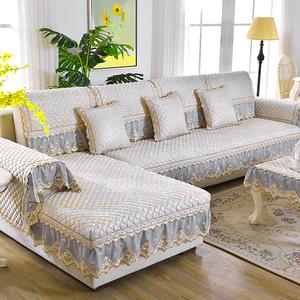 领10元券购买四季通用布艺欧式沙发垫秋冬现代防滑座垫客厅沙发罩巾套全包