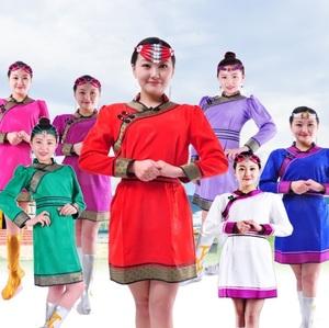 蒙古袍女款新款蒙古袍女成人日常生活装工作服服务员服装演出服