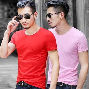 夏季男士圆领<span class=H>t恤</span>短袖修身潮流时尚半袖<span class=H>男装</span>纯棉修身打运动底衫