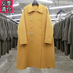 新韩国款手缝双面羊绒大衣羊毛呢外套双排扣中长<span class=H>娃娃</span>款廓形黄色女