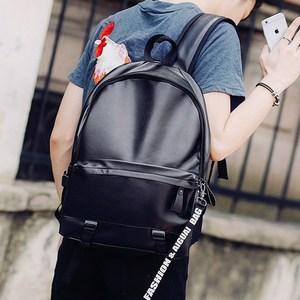 时尚潮流男包韩版高中大学生书包女PU皮经典休闲旅行电脑双肩背包