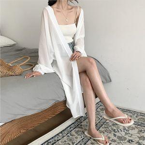 春季新款蝙蝠袖中长款开衫防晒雪纺衫+吊带<span class=H>打底衫</span>上衣<span class=H>两件套</span>女装