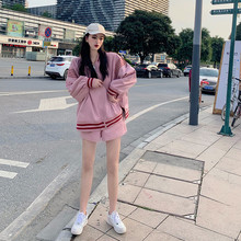 Leisure Baseball Jacket sportswear women's spring and autumn dress 2019 new fashion shorts loose Korean version of two sets
