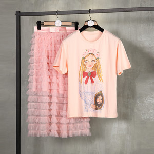 多层次网纱套装蛋糕裙女夏2018新款短袖<span class=H>上衣</span>+中长款半身裙两件夏
